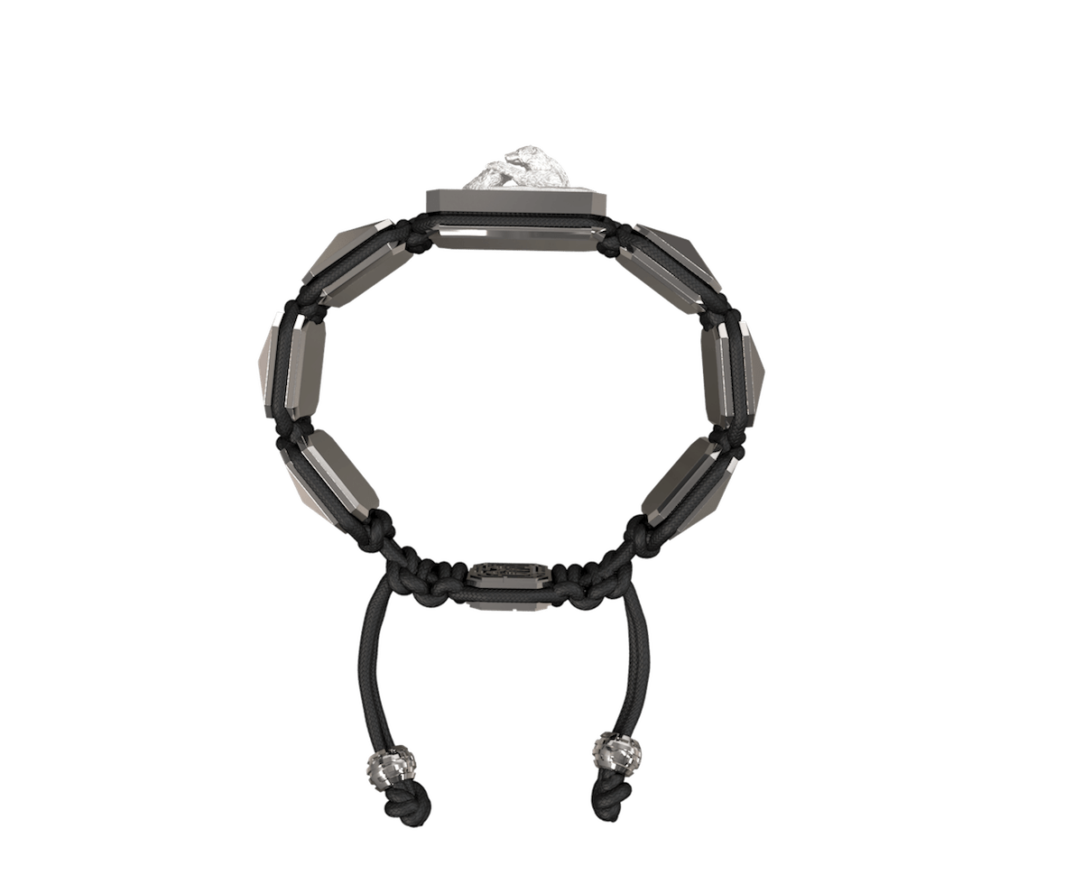 Proud Of You bracelet with black ceramic and sculpture finished in a Platinum effect complemented with a black coloured cord.