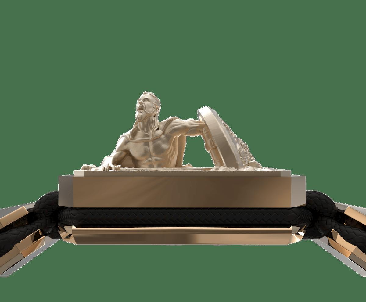 Pulsera I Will Fight till the End con cerámica y escultura acabadas en Oro Rosa de 18k. Hilo negro.