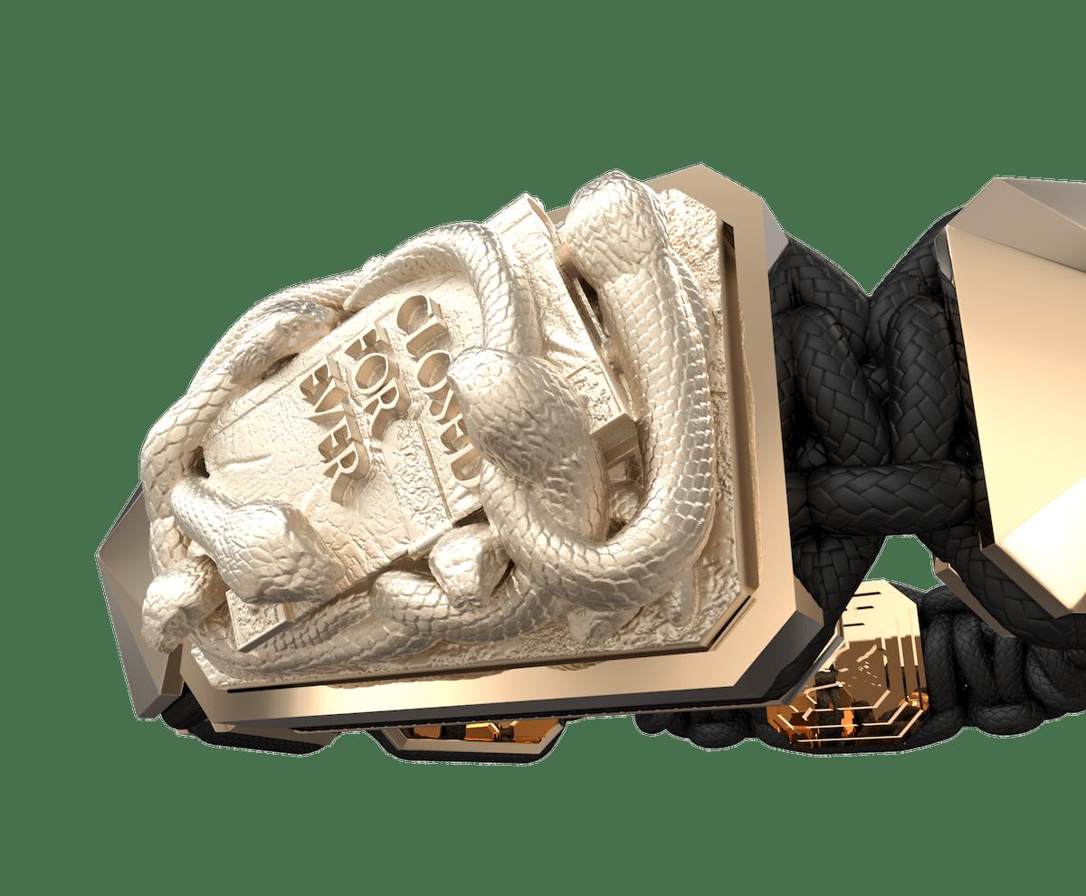 Pulsera I Quit con cerámica y escultura acabadas en Oro Rosa de 18k. Hilo negro.