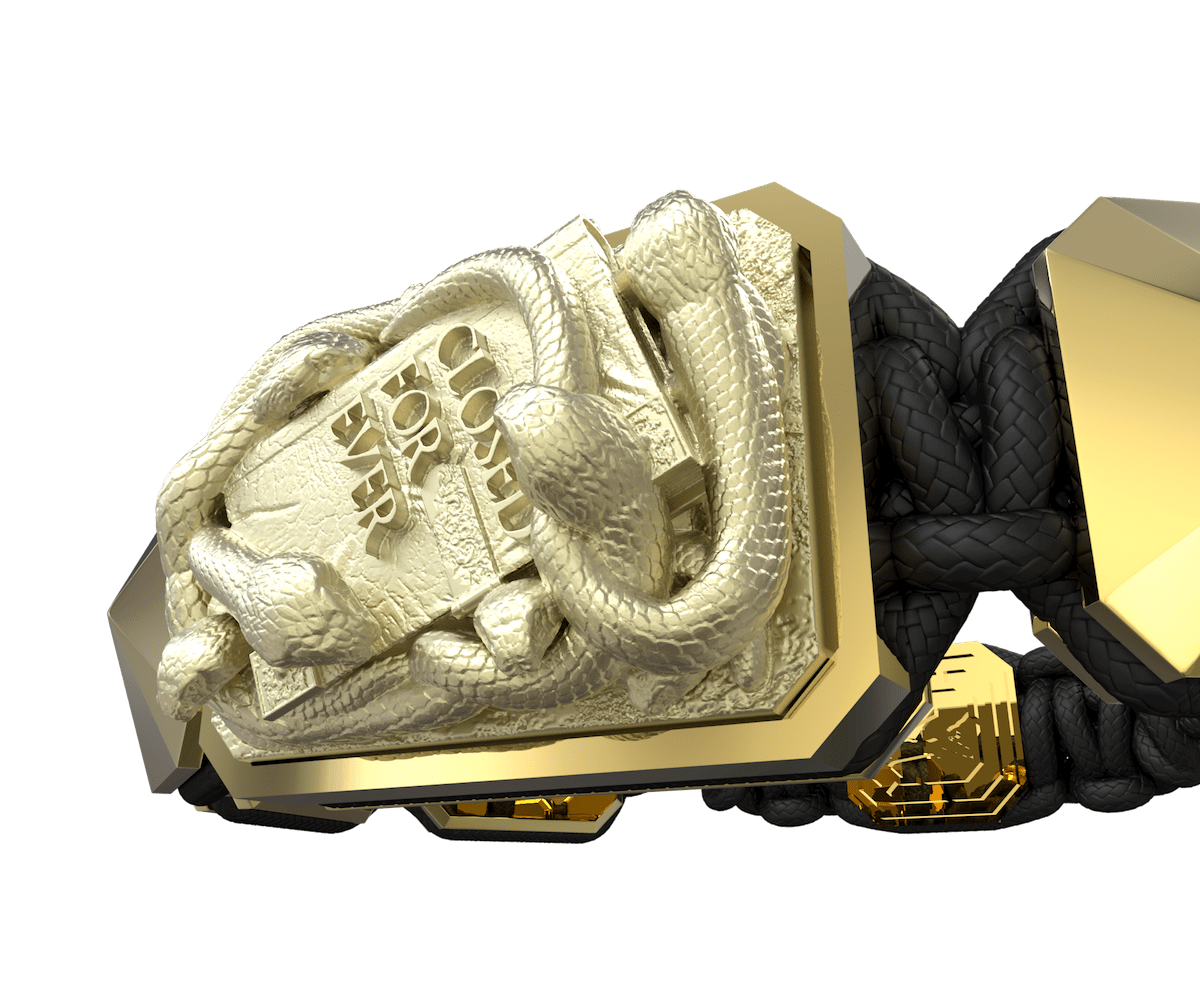 Pulsera I Quit con cerámica y escultura acabadas en Oro Amarillo de 18k. Hilo negro.