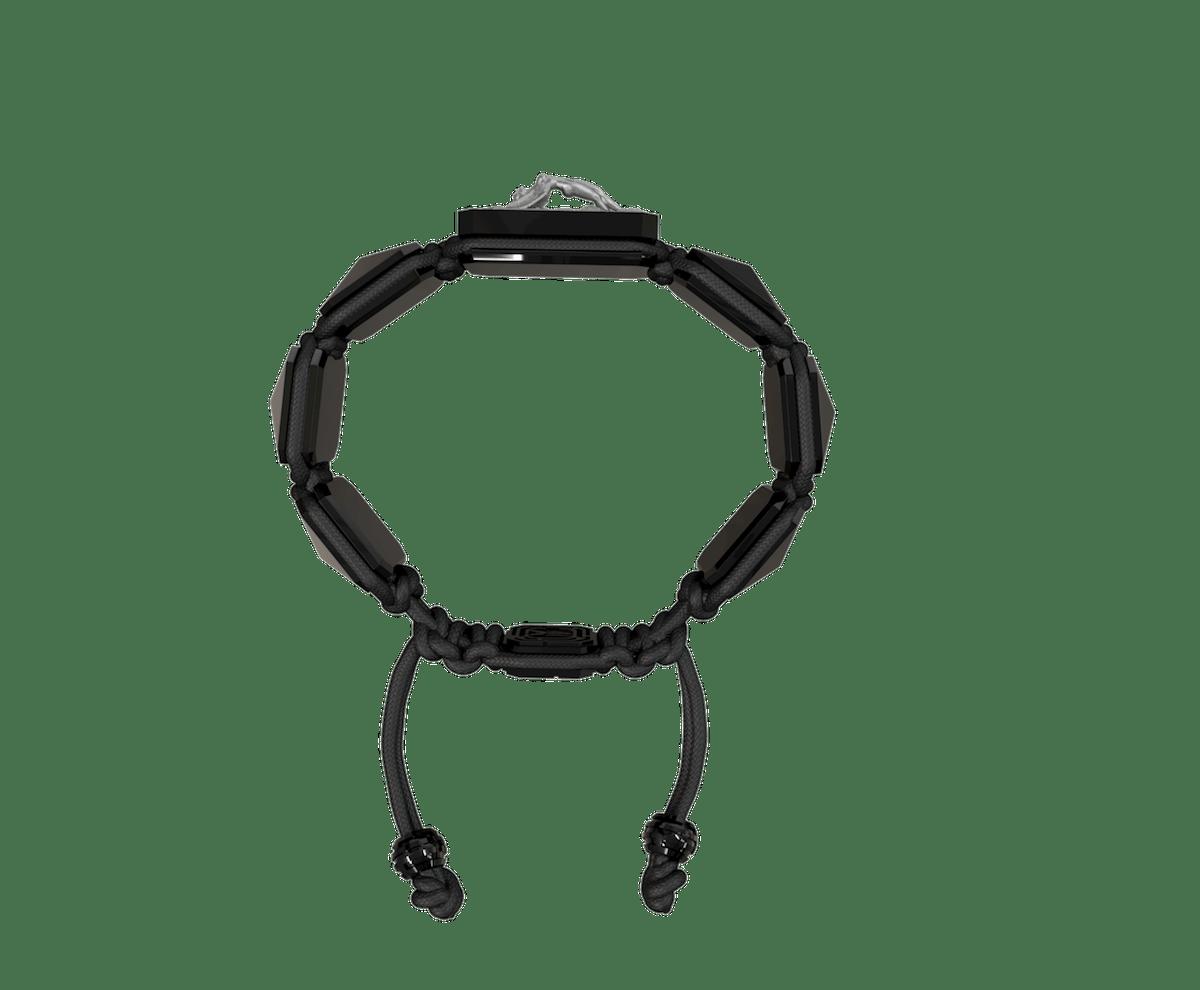 Pulsera I Love Me con cerámica negra y escultura acabada en color antracita. Hilo negro.