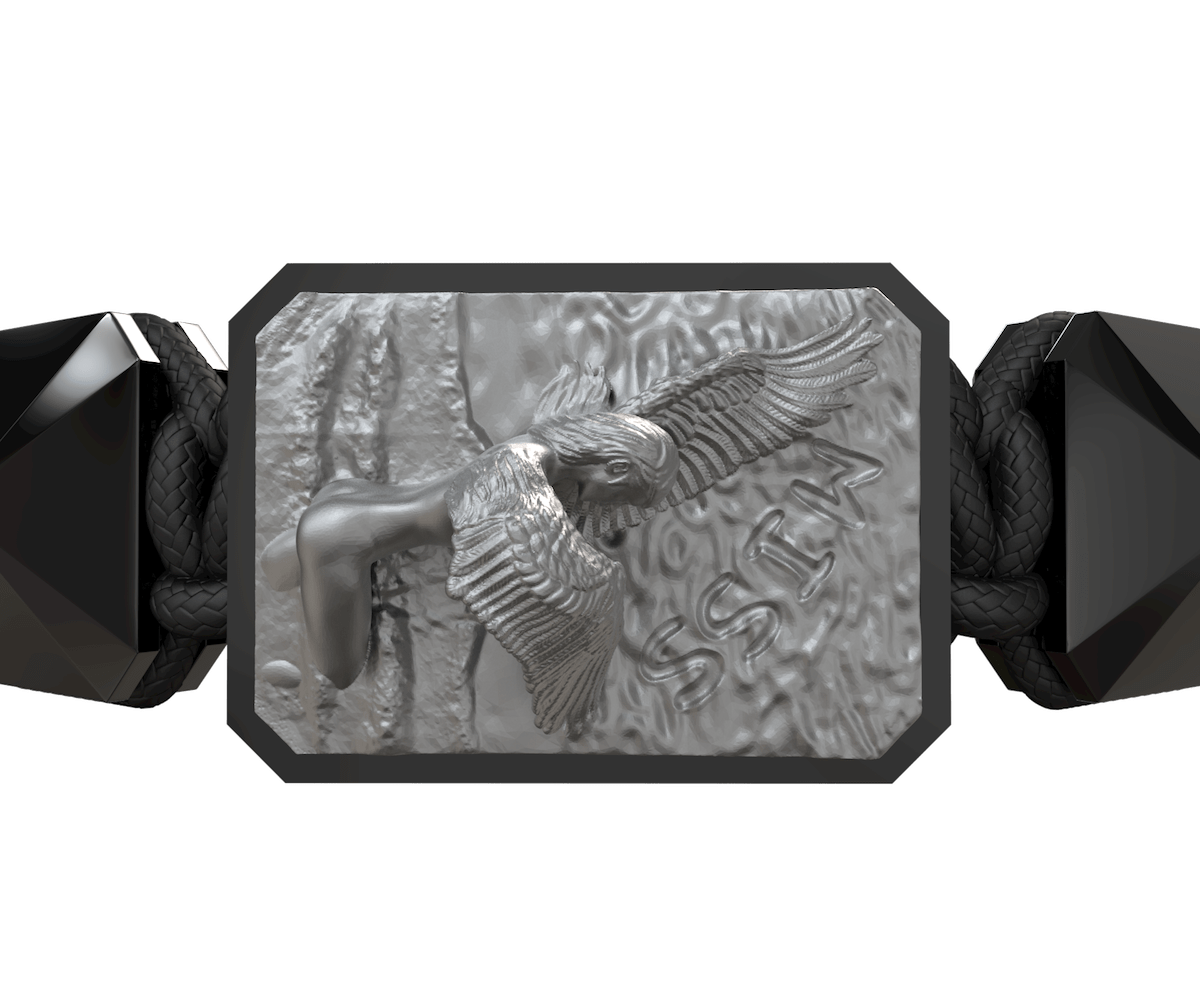 Pulsera Miss You con cerámica negra y escultura acabada en color antracita. Hilo negro.