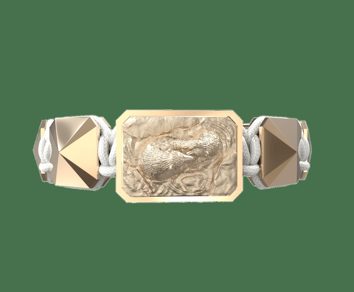 Pulsera Proud Of You con cerámica y escultura acabadas en Oro Rosa de 18k. Hilo blanco.