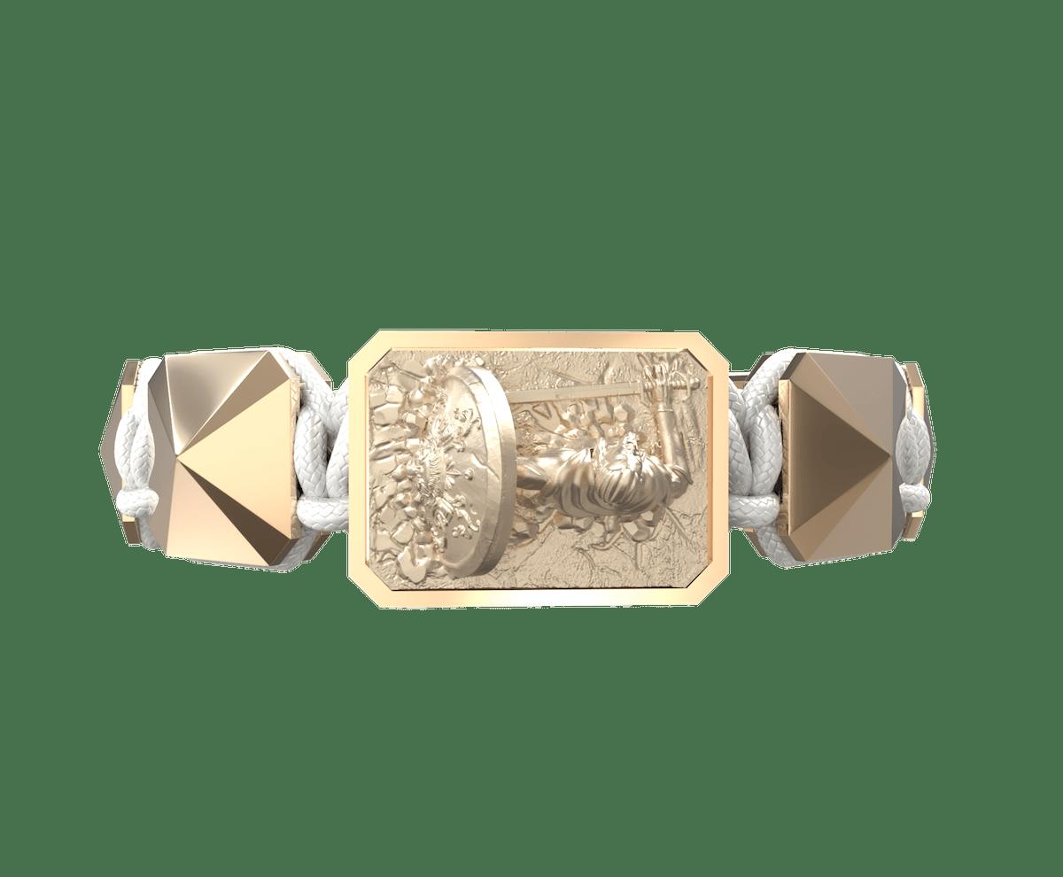 Pulsera I Will Fight till the End con cerámica y escultura acabadas en Oro Rosa de 18k. Hilo blanco.