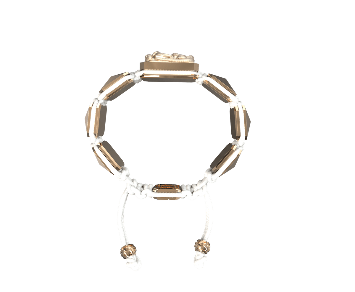 I Quit bracelet with ceramic and sculpture finished in 18k Rose Gold complemented with a white coloured cord.