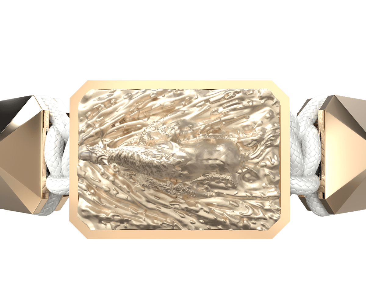 Pulsera I'm Different con cerámica y escultura acabadas en Oro Rosa de 18k. Hilo blanco.