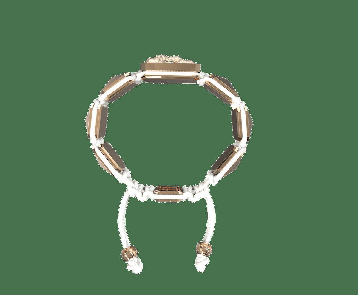 Pulsera Forever In My Heart con cerámica y escultura acabadas en Oro Rosa de 18k. Hilo blanco.