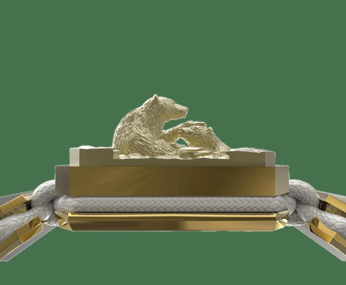 Pulsera Proud Of You con cerámica y escultura acabadas en Oro Amarillo de 18k. Hilo blanco.