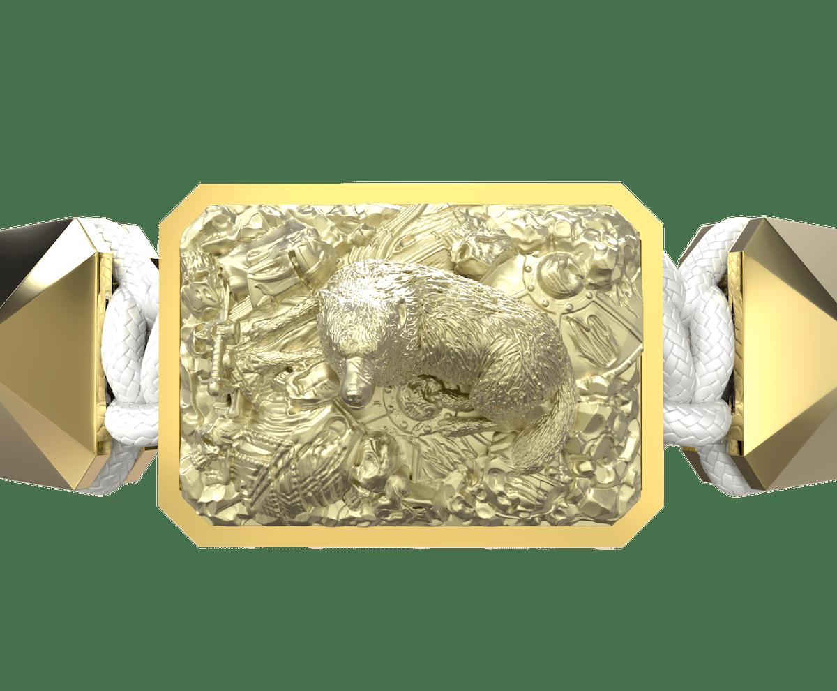 Pulsera Selfmade con cerámica y escultura acabadas en Oro Amarillo de 18k. Hilo blanco.