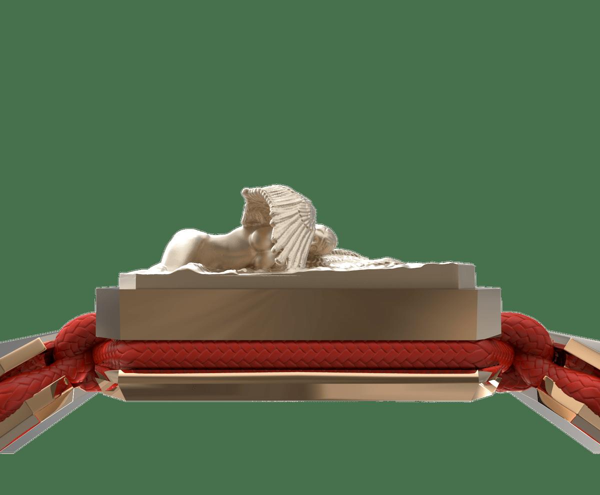 Pulsera Miss You con cerámica y escultura acabadas en Oro Rosa de 18k. Hilo rojo.