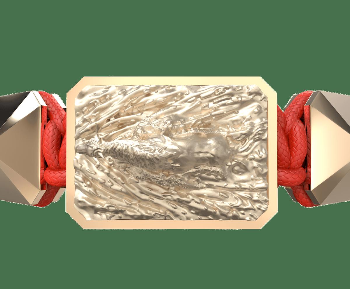 Pulsera I'm Different con cerámica y escultura acabadas en Oro Rosa de 18k. Hilo rojo.