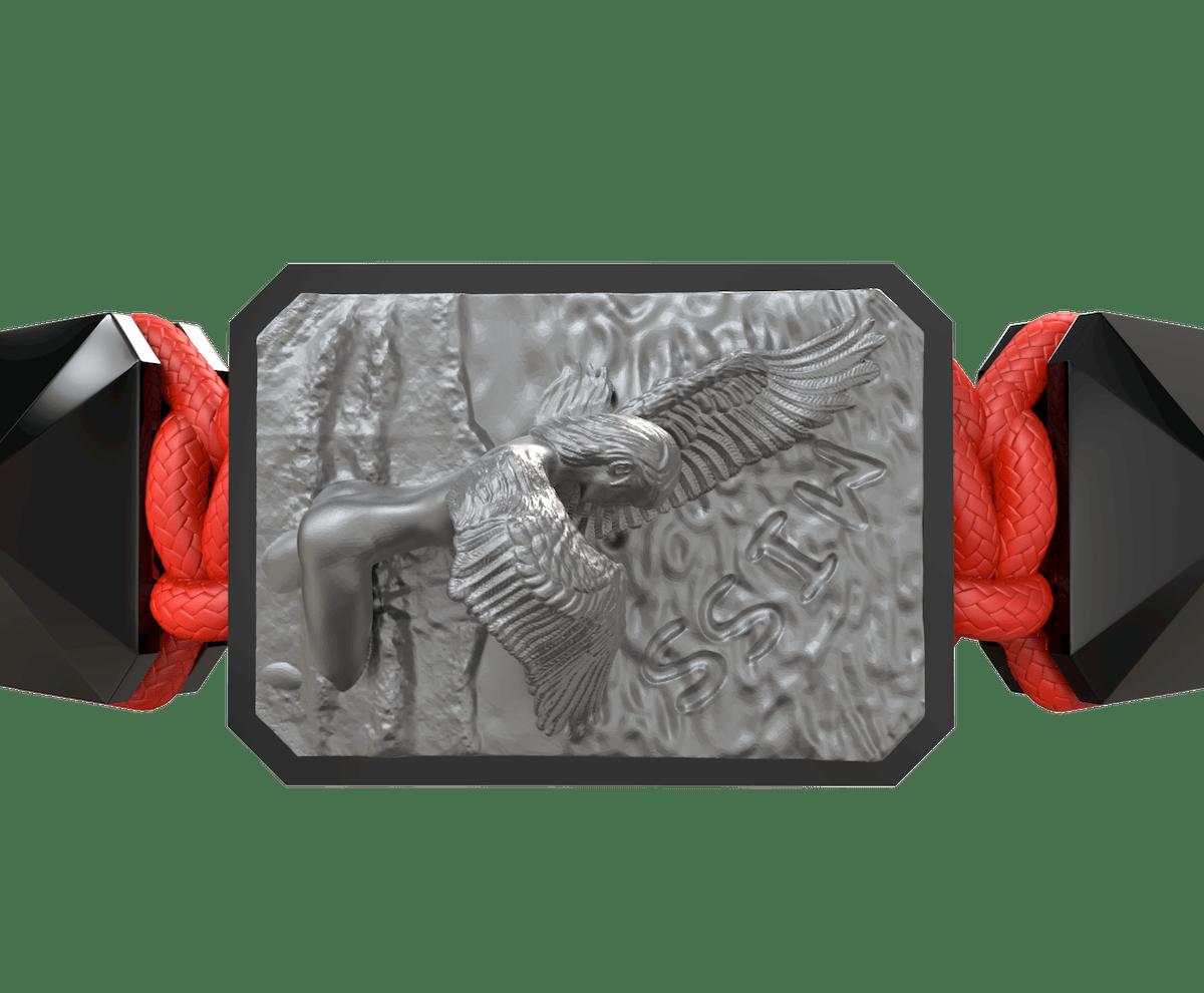 Pulsera Miss You con cerámica negra y escultura acabada en color antracita. Hilo rojo.