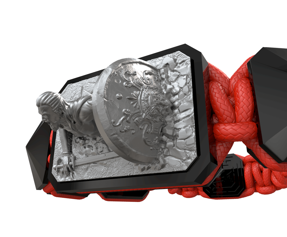Pulsera I Will Fight till the End con cerámica negra y escultura acabada en color antracita. Hilo rojo.