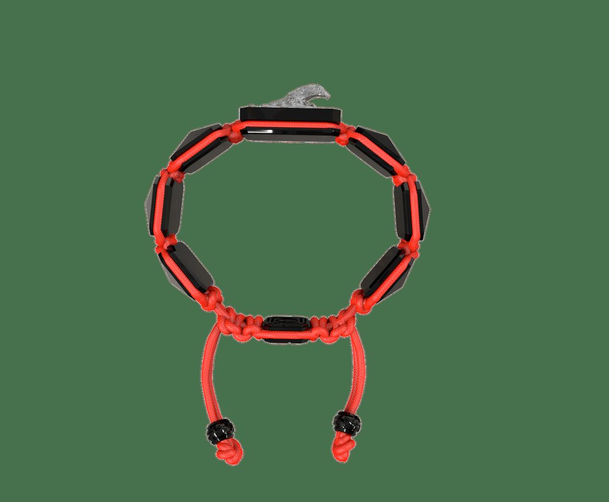 Pulsera I'm Different con cerámica negra y escultura acabada en color antracita. Hilo rojo.