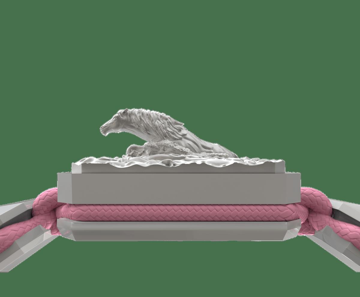 Pulsera I'm Different con cerámica blanca y escultura acabada en efecto Platino. Hilo rosa.