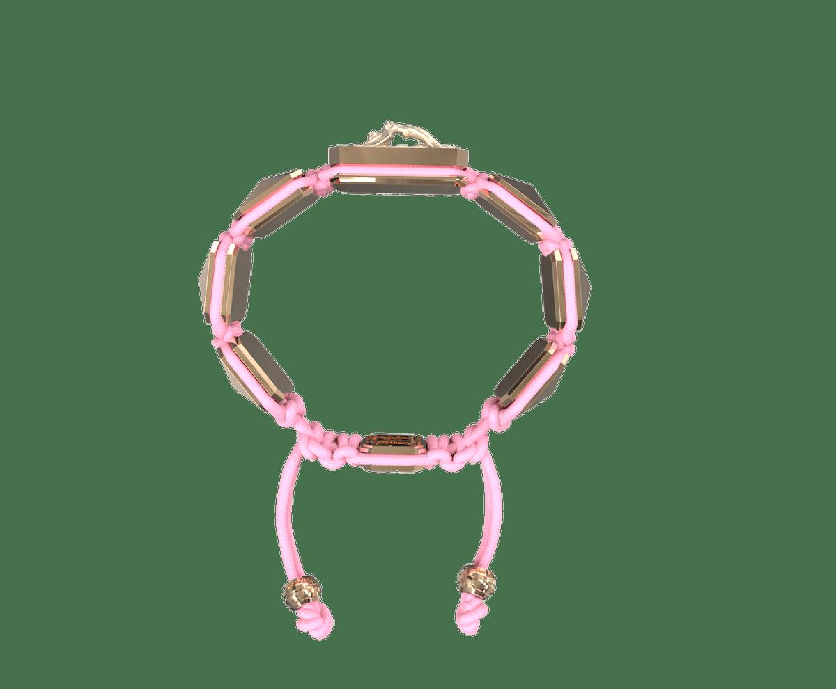Pulsera I Love Me con cerámica y escultura acabadas en Oro Rosa de 18k. Hilo rosa.