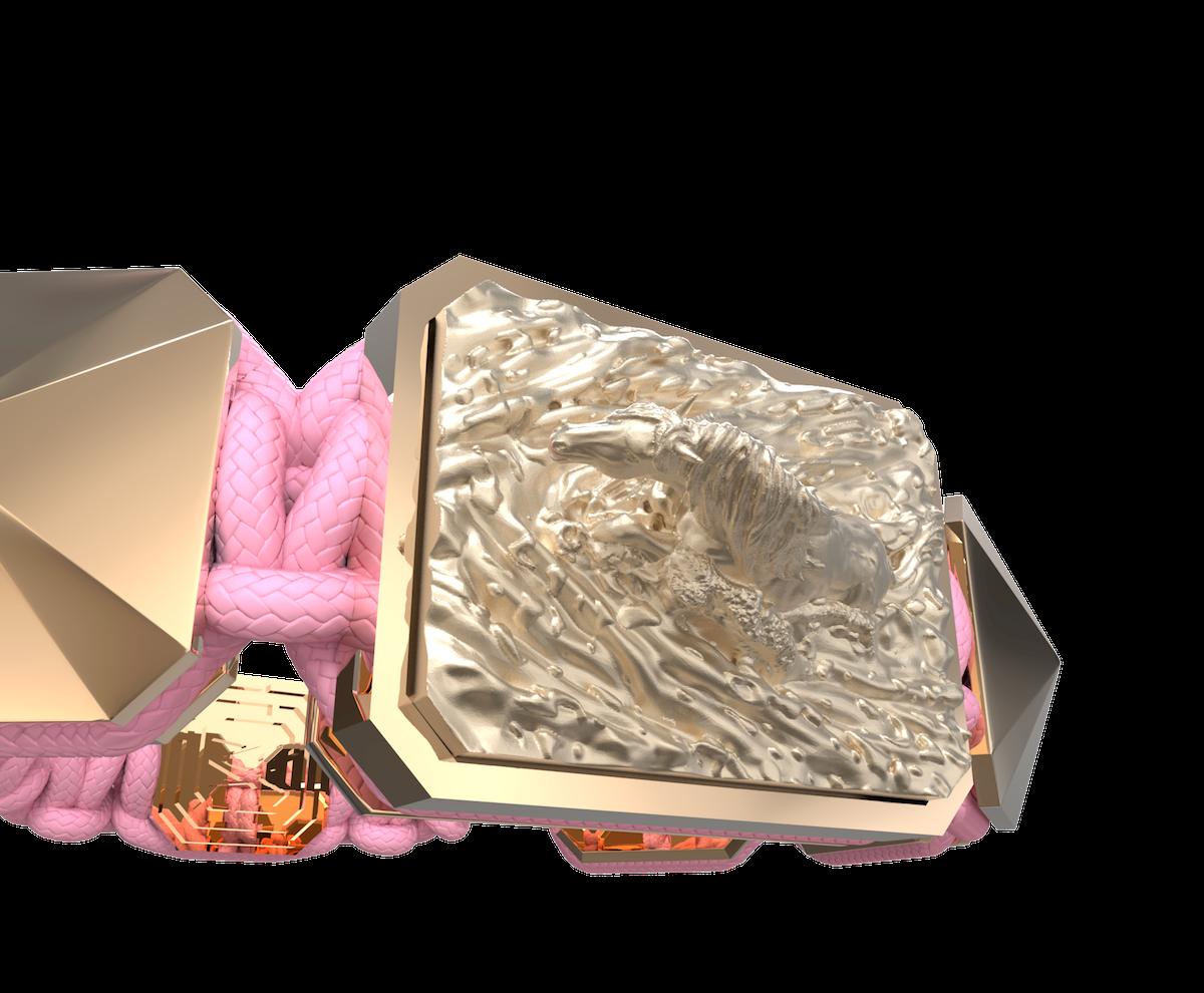 Pulsera I'm Different con cerámica y escultura acabadas en Oro Rosa de 18k. Hilo rosa.