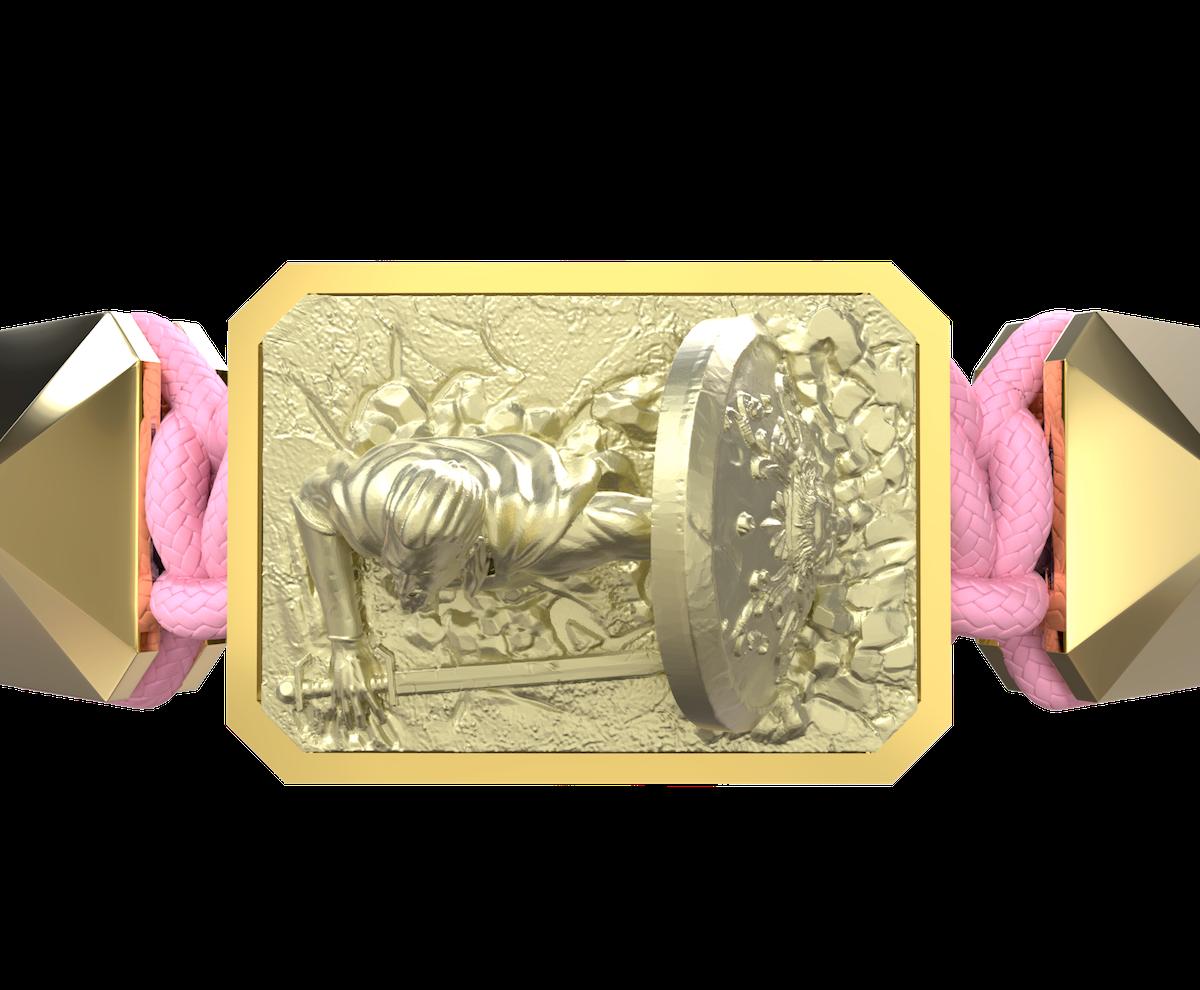 Pulsera I Will Fight till the End con cerámica y escultura acabadas en Oro Amarillo de 18k. Hilo rosa.
