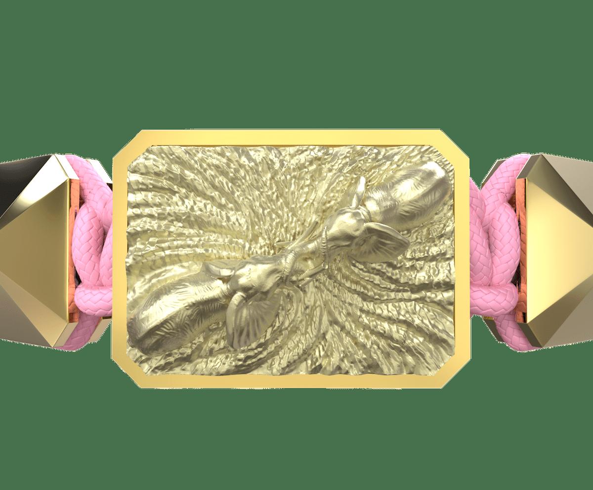 Pulsera Forever In My Heart con cerámica y escultura acabadas en Oro Amarillo de 18k. Hilo rosa.