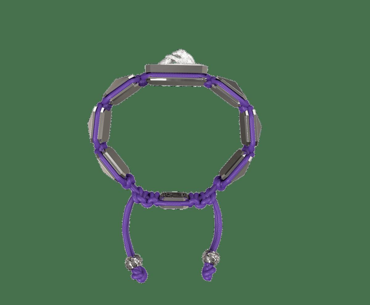 Pulsera Proud Of You con cerámica y escultura acabadas en efecto Platino. Hilo violeta.