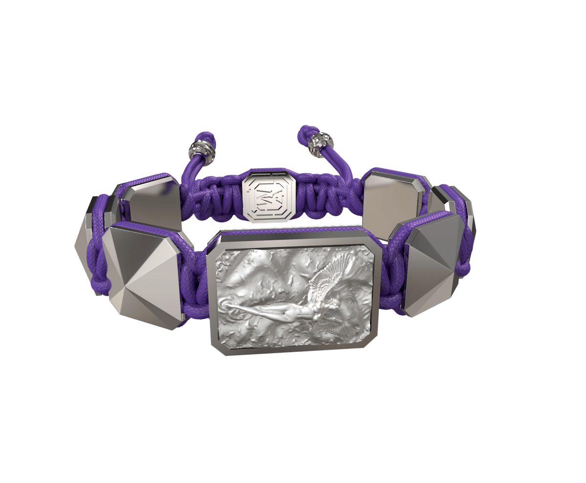 I Love Me bracelet with ceramic and sculpture finished in a Platinum effect complemented with a violet coloured cord.