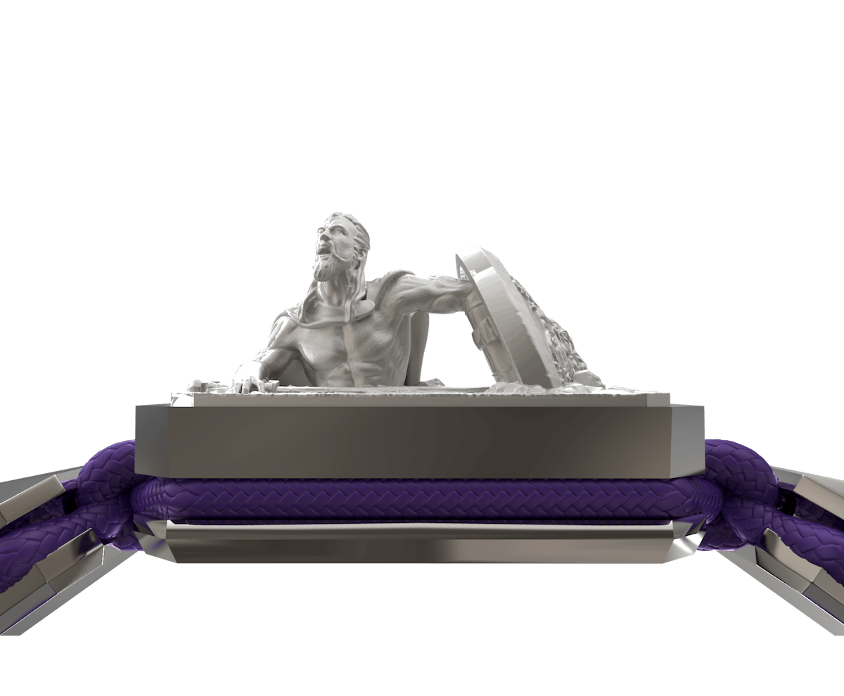 Pulsera I Will Fight till the End con cerámica y escultura acabadas en efecto Platino. Hilo violeta.