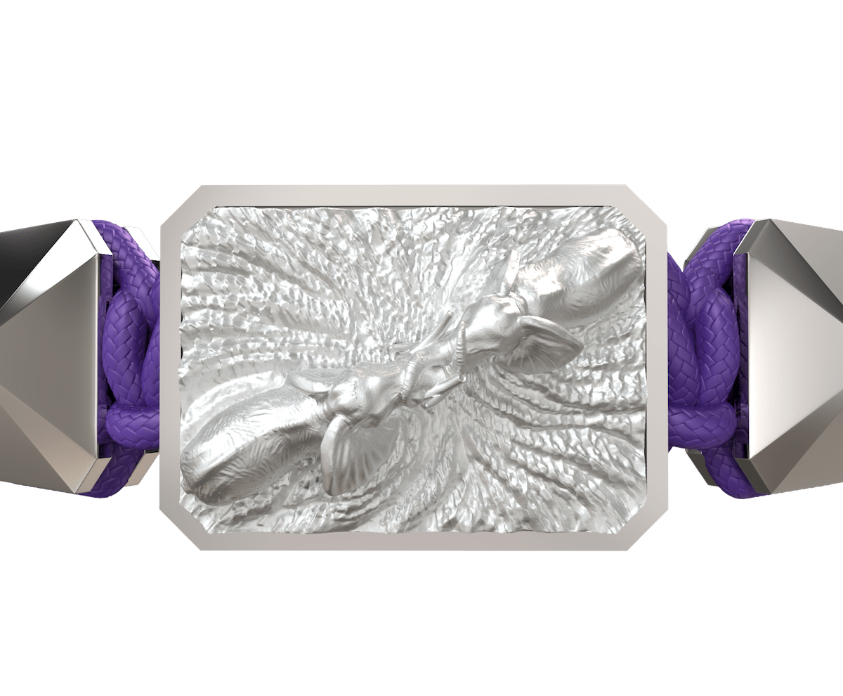 Forever In My Heart bracelet with ceramic and sculpture finished in a Platinum effect complemented with a violet coloured cord.