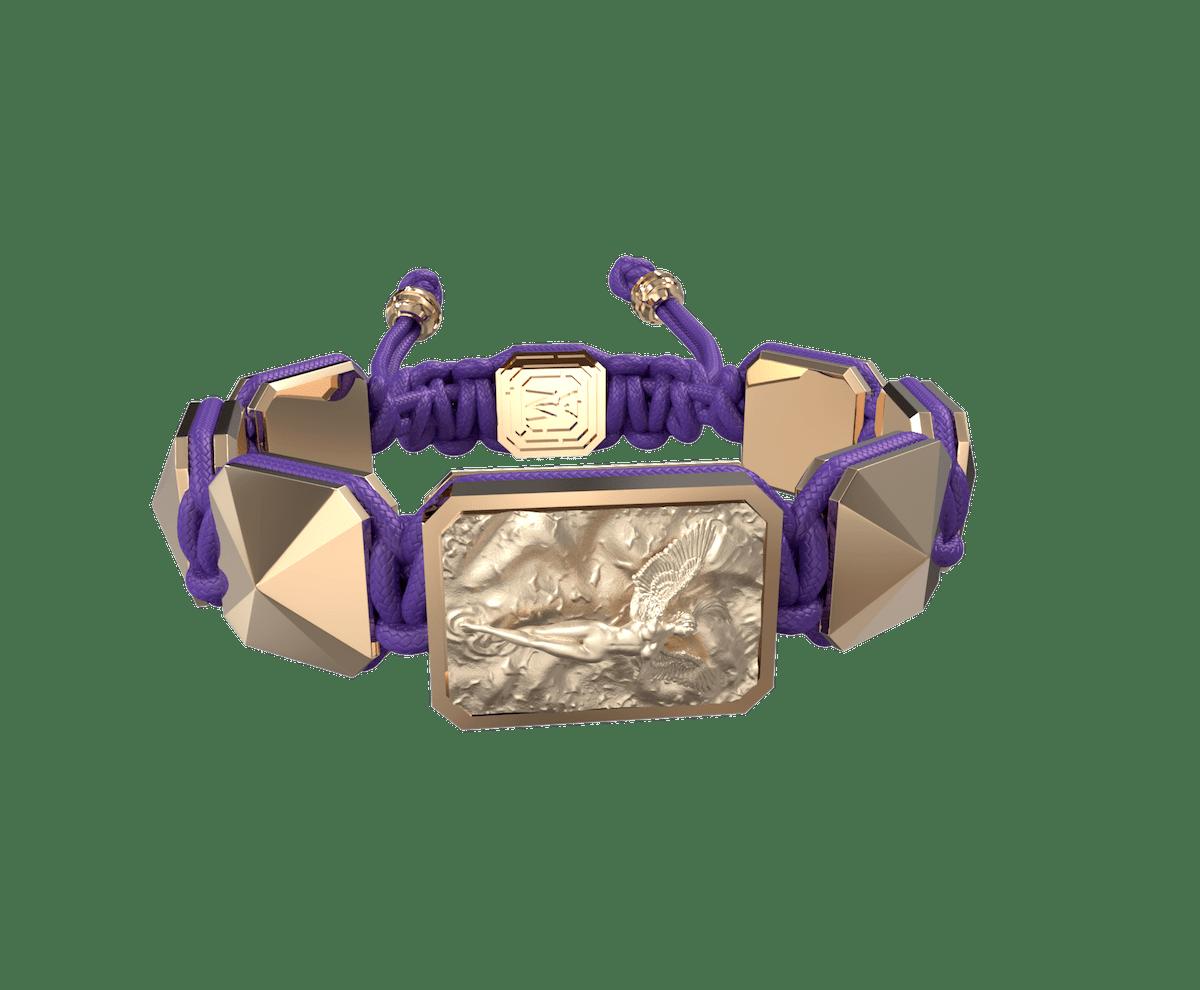 Pulsera I Love Me con cerámica y escultura acabadas en Oro Rosa de 18k. Hilo violeta.