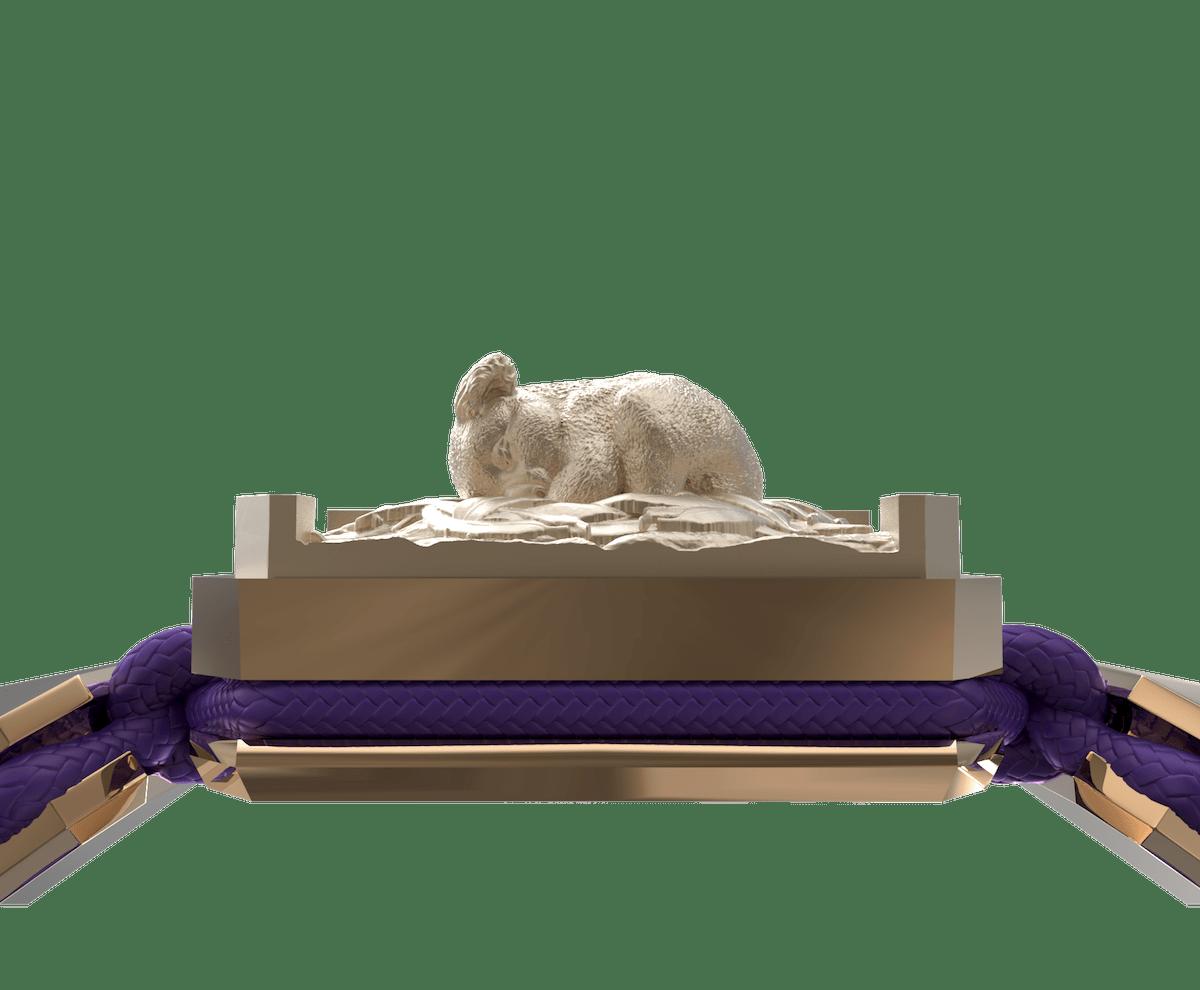 Pulsera I Love My Baby con cerámica y escultura acabadas en Oro Rosa de 18k. Hilo violeta.