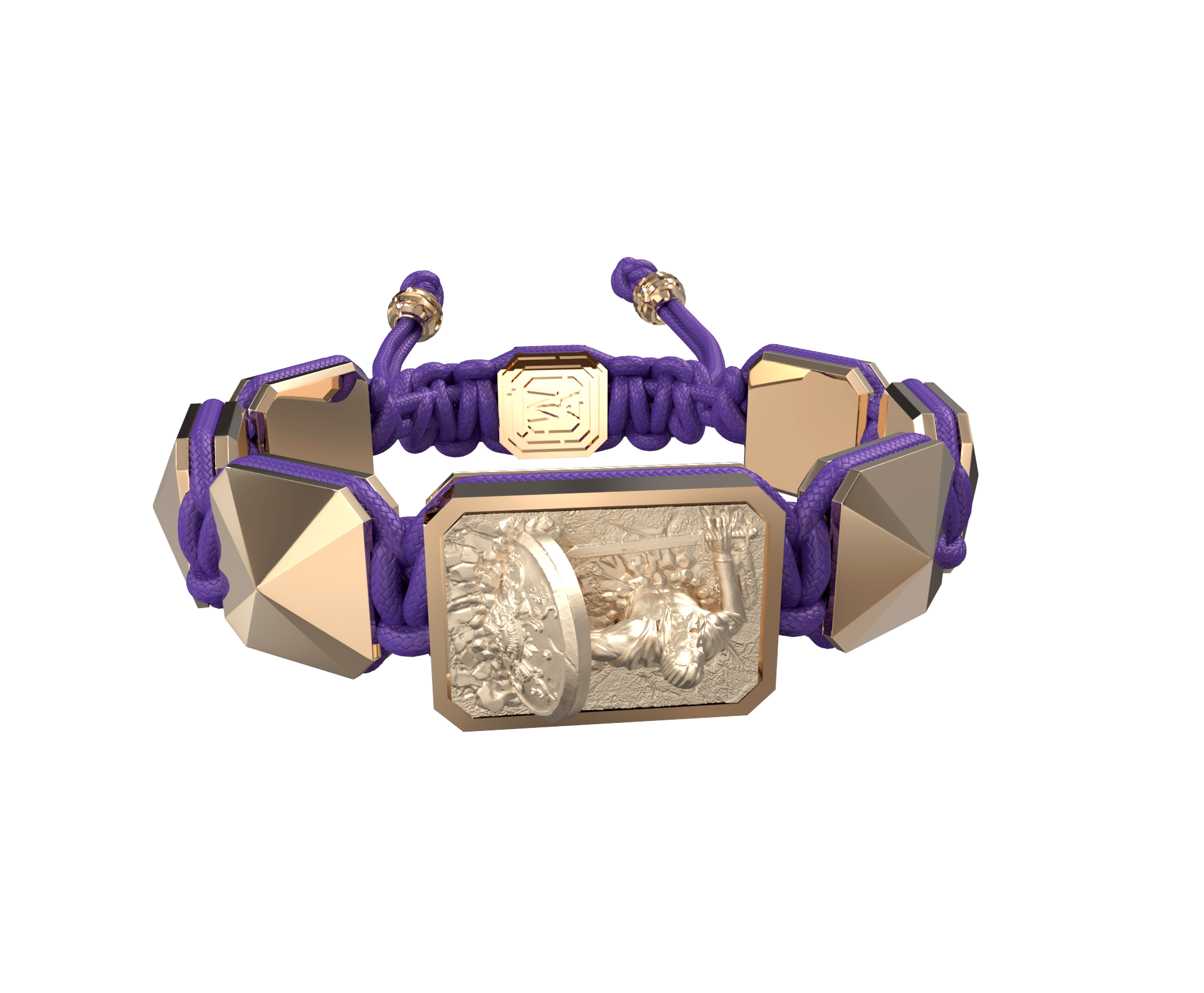 I Will Figh till the End bracelet with ceramic and sculpture finished in 18k Rose Gold complemented with a violet coloured cord.