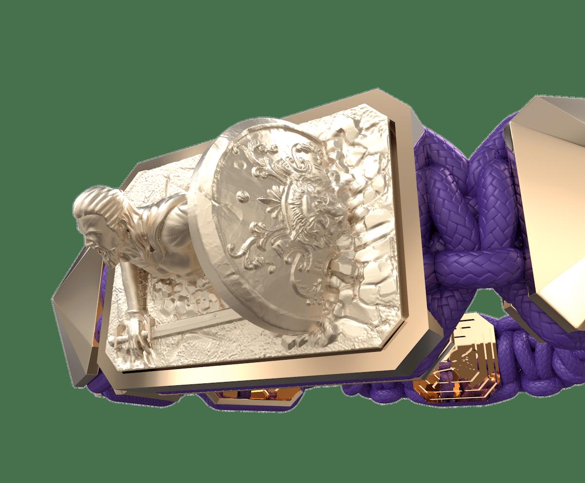 Pulsera I Will Fight till the End con cerámica y escultura acabadas en Oro Rosa de 18k. Hilo violeta.
