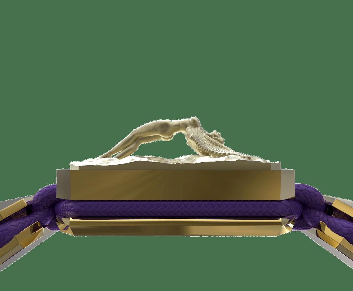 Pulsera I Love Me con cerámica y escultura acabadas en Oro Amarillo de 18k. Hilo violeta.
