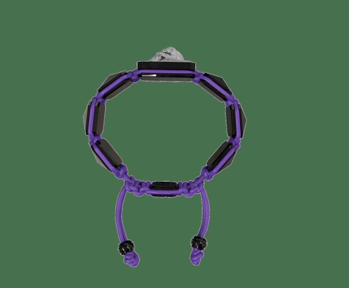 Pulsera Proud Of You con cerámica negra y escultura acabada en color antracita. Hilo violeta.