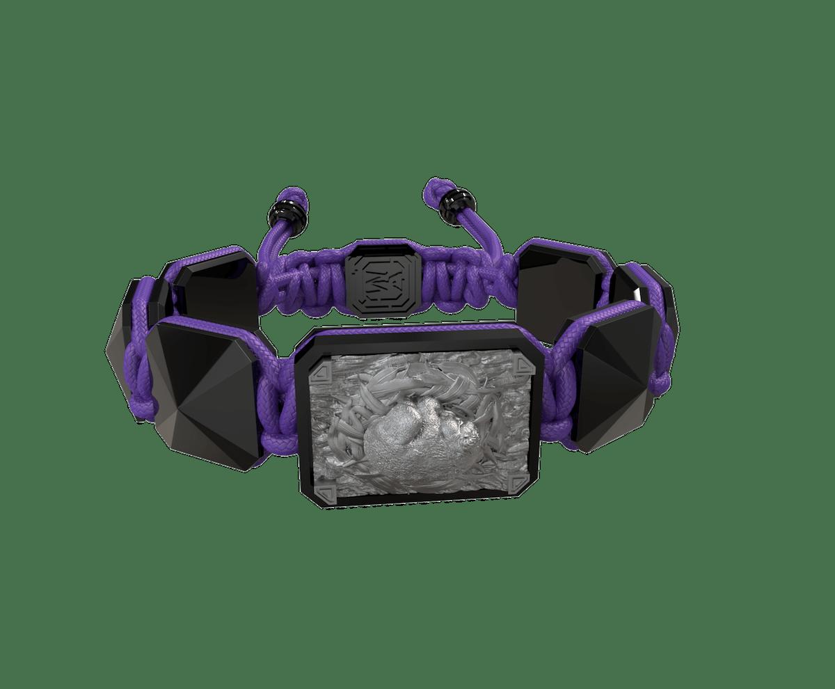 Pulsera I Love My Baby con cerámica negra y escultura acabada en color antracita. Hilo violeta.