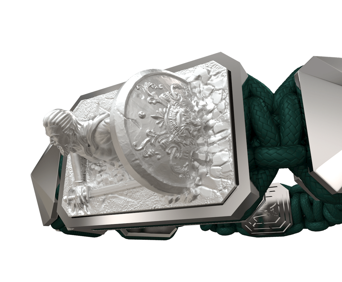 Pulsera I Will Fight till the End con cerámica y escultura acabadas en efecto Platino. Hilo verde oscuro.