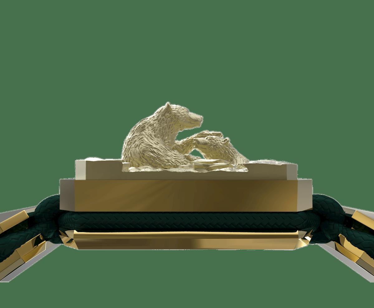 Pulsera Proud Of You con cerámica y escultura acabadas en Oro Amarillo de 18k. Hilo verde oscuro.