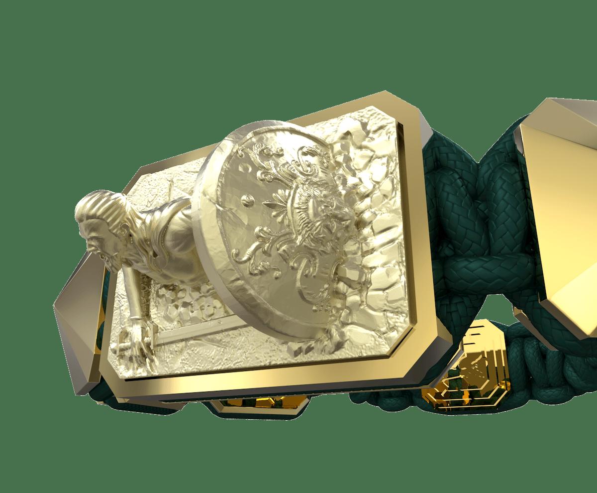 Pulsera I Will Fight till the End con cerámica y escultura acabadas en Oro Amarillo de 18k. Hilo verde oscuro.