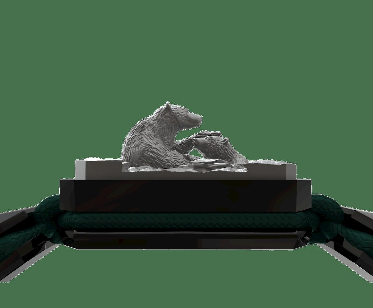 Pulsera Proud Of You con cerámica negra y escultura acabada en color antracita. Hilo verde oscuro.