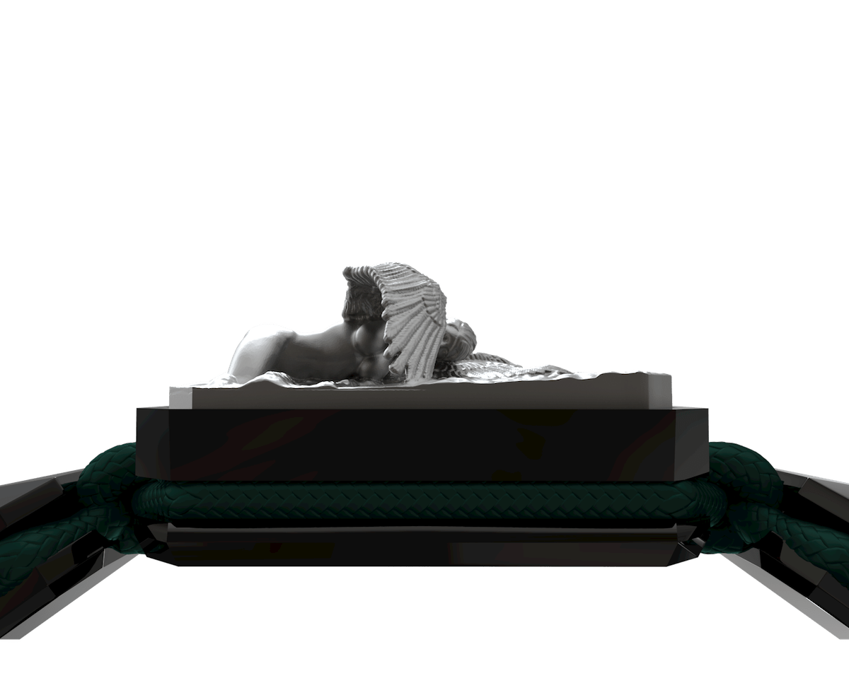 Pulsera Miss You con cerámica negra y escultura acabada en color antracita. Hilo verde oscuro.