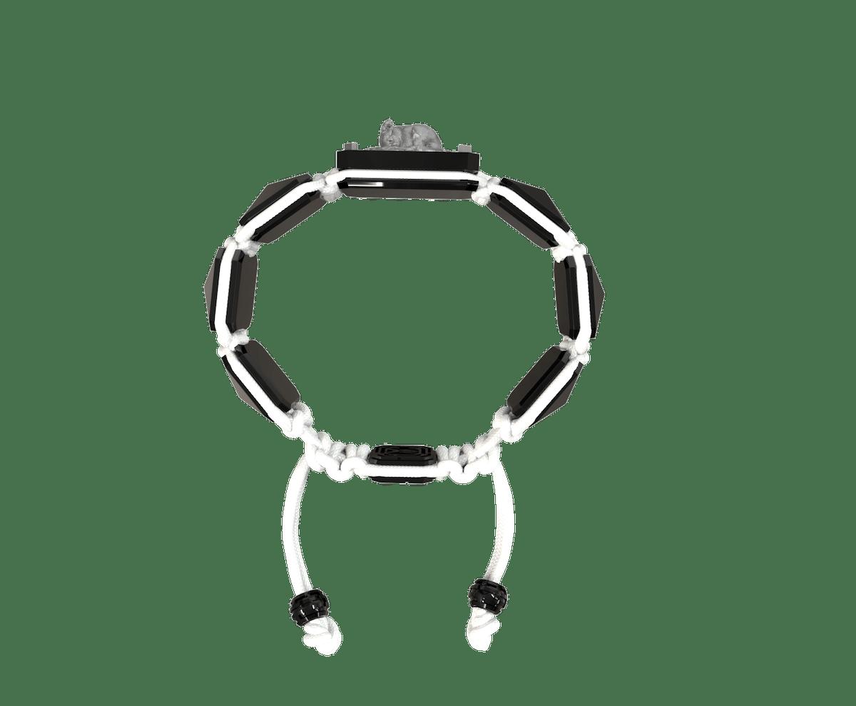 Pulsera I Love My Baby con cerámica negra y escultura acabada en color antracita. Hilo blanco.