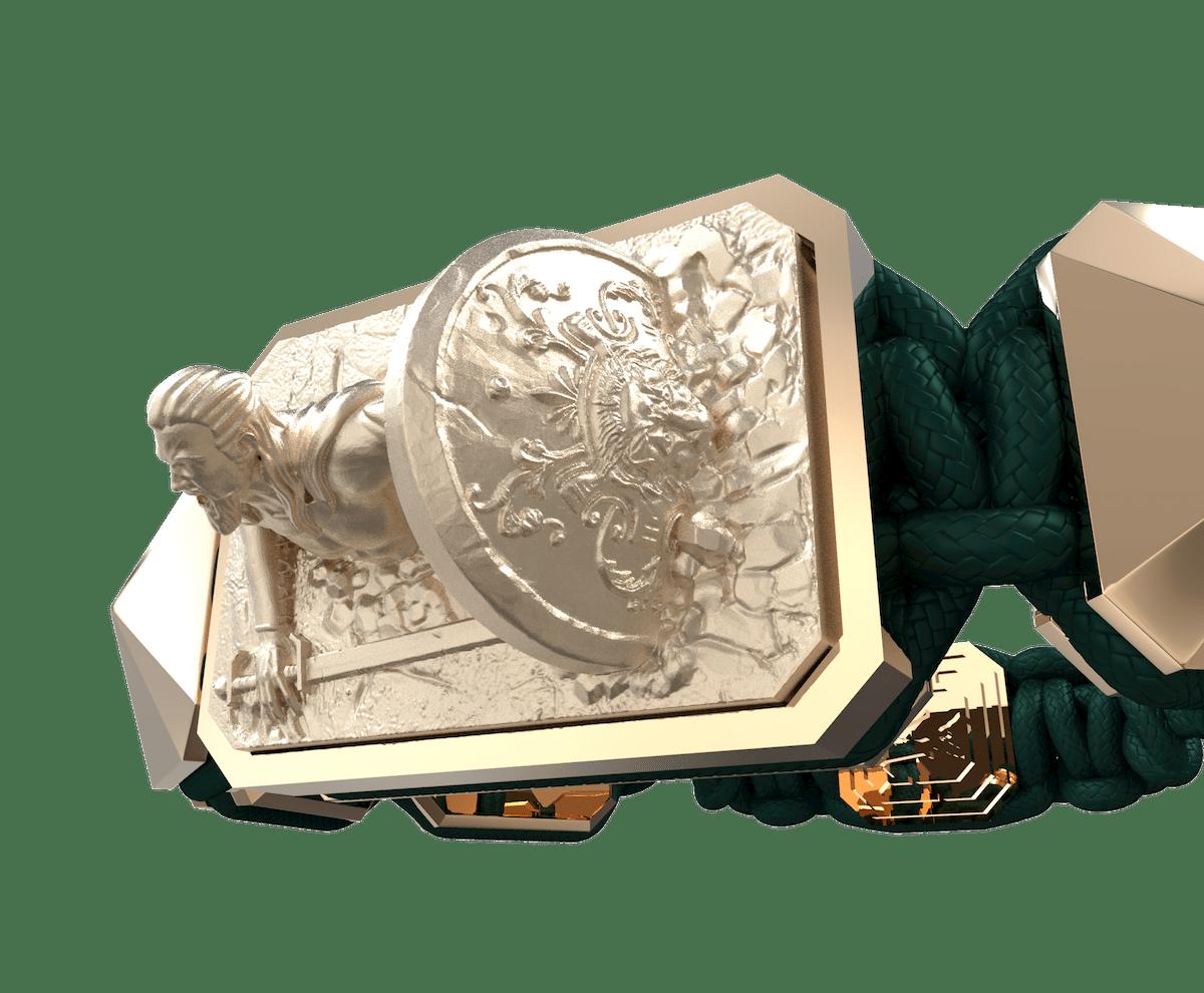 Pulsera I Will Fight till the End con cerámica y escultura acabadas en Oro Rosa de 18k. Hilo verde oscuro.