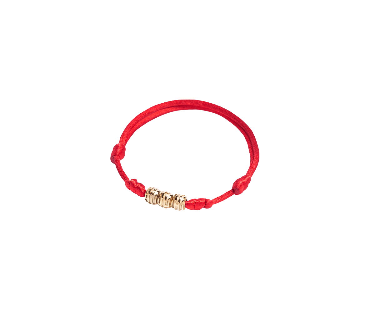 Maze Earth Bracelet finished in Yellow Gold. Carved in ceramics. Red thread.