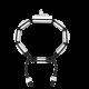 Pulsera Selfmade con cerámica blanca y escultura acabada en efecto Platino. Hilo negro.