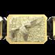 Pulsera Miss You con cerámica y escultura acabadas en Oro Amarillo de 18k. Hilo negro.