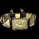 Pulsera Selfmade con cerámica y escultura acabadas en Oro Amarillo de 18k. Hilo negro.