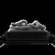 Pulsera I Quit con cerámica negra y escultura acabada en color antracita. Hilo negro.