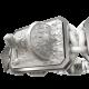 Pulsera I Will Fight till the End con cerámica y escultura acabadas en efecto Platino. Hilo blanco.