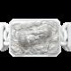Pulsera Proud Of You con cerámica blanca y escultura acabada en efecto Platino. Hilo blanco.