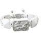 Pulsera I Love Me con cerámica blanca y escultura acabada en efecto Platino. Hilo blanco.