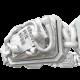 Pulsera I Quit con cerámica blanca y escultura acabada en efecto Platino. Hilo blanco.
